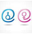 Male and female symbol inside the message icon vector image