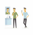 man before and after shaving - cartoon people vector image