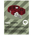 meat color isometric poster vector image vector image
