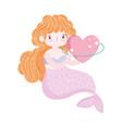 mermaid princess heart love cartoon isolated icon vector image vector image