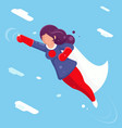 modern super hero flying sky clowds character flat vector image