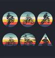 motocross collection retro vector image vector image