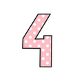 number 4 with white polka dots on pastel pink vector image vector image