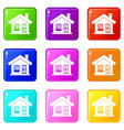 one-storey house with a chimney icons 9 set vector image vector image