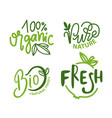 organic food pure nature fresh and bio meal set vector image vector image