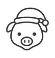 pig wearing santa hat outline icon editable stroke vector image vector image