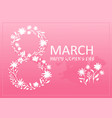 pink card for 8 march with floral silhouette vector image