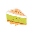pistachio cheesecake character vector image vector image