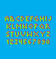 pixel retro video game font 80 s retro alphabet vector image