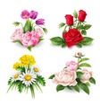 realistic rose tulip daisy peony bouquet vector image
