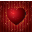 red hearts valentines day background with stars vector image