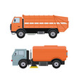 road cleaning machine vehicle truck sweeper vector image vector image