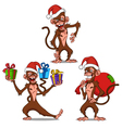 set cartoon monkey vector image