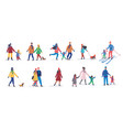 set different families walking in winter vector image