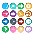 set of different color arrows icons in cut paper vector image