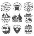 set of happy camper outdoor adventure symbol vector image vector image