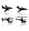set of transport icons - airbus and helicopter vector image vector image