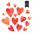 set red watercolor hearts vector image