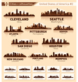 Skyline city set 10 cities of USA 2 vector image vector image