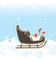 Sled Snow Winter Bell Lovely Kid Special vector image vector image