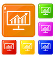 statistics on monitor icons set color vector image vector image