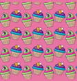 sweet cupcakes with candies pattern vector image vector image