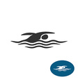 Swimming man black silhouette logo Water waves vector image vector image