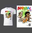 t-shirt design with cartoon animals vector image vector image