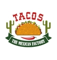 Tacos mexican fast food restaurant icon vector image vector image