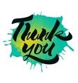 Thank you Handwritten Brush Script On Ink Drop vector image