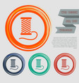 thread icon on the red blue green orange buttons vector image vector image