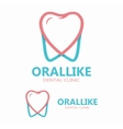 tooth with heart logo vector image vector image