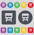 Truck icon sign A set of 12 colored buttons Flat vector image