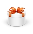 White Round Gift Box with Orange Ribbon and Bow vector image vector image