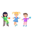 playful little children in baby bibs flat vector image