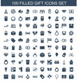100 gift icons vector image vector image