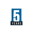 5 years anniversary icon birthday logo vector image