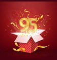 95 th years number anniversary and open gift box vector image vector image