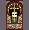 art nouveau background skull and sword vector image vector image