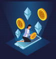 bitcoin cryptocurrency technology vector image vector image