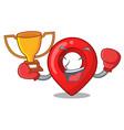 boxing winner map marker navigation pin mascot vector image