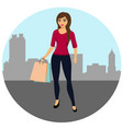 buyer girl with shopping bags from the store vector image
