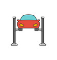 car lifting flat line icon vector image vector image