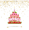 Celebratory Cake with Confetti vector image