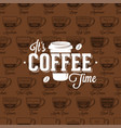 coffe time logo on seamless pattern coffee type vector image vector image