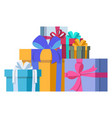 colorful gifts with bows of ribbons for any vector image vector image