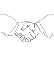 continuous line drawing of handshake vector image vector image