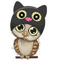 cute cartoon owl in a cat hat vector image vector image