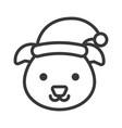 dog wearing santa hat outline icon editable stroke vector image vector image