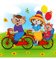 family of cats on tandem bicycle vector image vector image